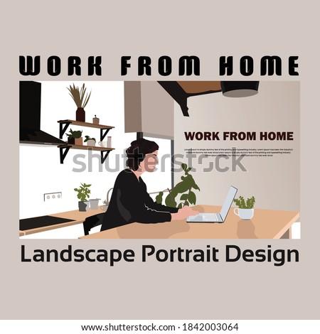 Work From Home Landscape Design in Illustrator | Flat Landscape Design | Speed art | Vector Portrait