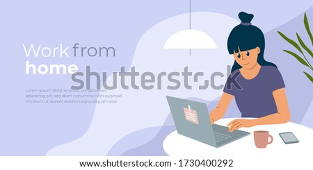 Work from home layout. Young woman sitting behind table, working online using laptop. E-learning, studying, education concept. Home office, network design template. Freelance girl vector illustration