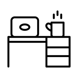 Work from Home Office Desk Concept Vector Icon, Laptop Table and Hot Tea Cup Design