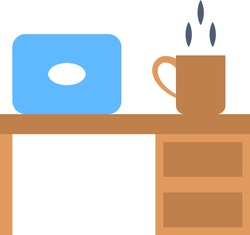 Work from Home Office wooden Desk Concept Vector color Icon, Laptop Table and Hot Tea Cup Design on white background