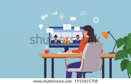 Work from home woman having a video conference with his colleagues. Online people work together. Remote teamwork concept.
