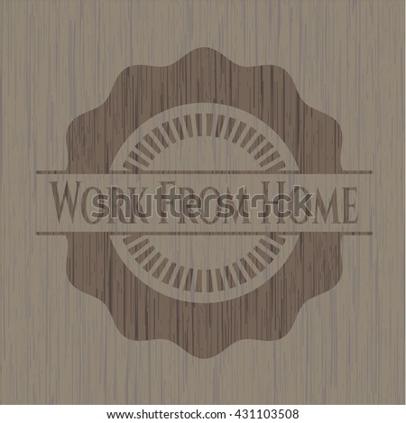 Work From Home wood icon or emblem