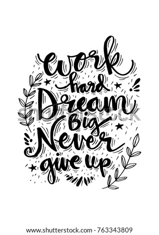 Never Give Up Swirl Quote Print Black /& White