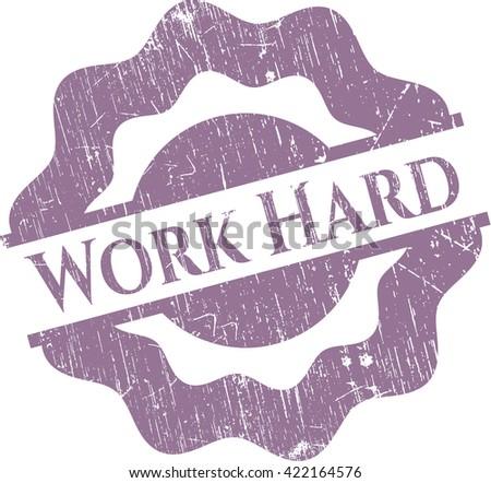 Work Hard grunge stamp