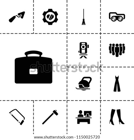 Work icon. collection of 13 work filled icons such as woman boots, jumpsuit, trowel, hacksaw, rake, heart in gear, case, group. editable work icons for web and mobile.