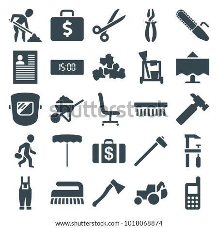 Work icons. set of 25 editable filled work icons such as money case, cleaning tools, clean brush, phone, hummer, construction, excavator, pliers, chainsaw, gardener jumpsuit