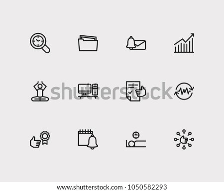 Work icons set. Reward yourself and work icons with audit time, efficiency and group tasks. Set of elements including gesture for web app logo UI design.