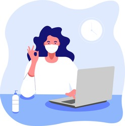 Work in a mask at a computer. Office work, distant work, coronavirus. Masked girl with laptop showing that everything is fine  - color vector illustration in a flat style