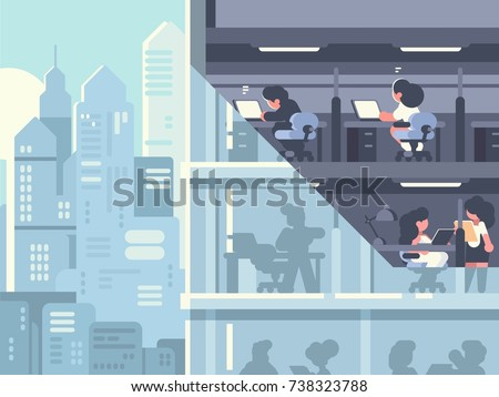 Work in office. People working in skyscraper in workplace. Vector illustration