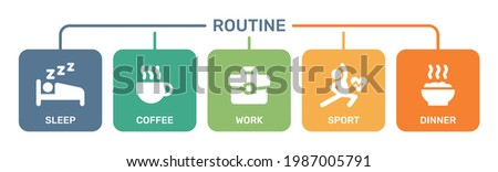 Work life balance icons vector. Everyday routine concept. Vector illustration Stock photo ©