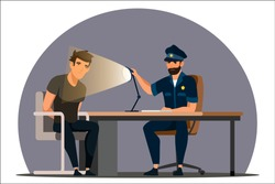 Work of police department. Police officer interrogates man suspected of crime, glowing light of lamp into face. Detained man in handcuffs testifies, gives evidence. Vector character illustration