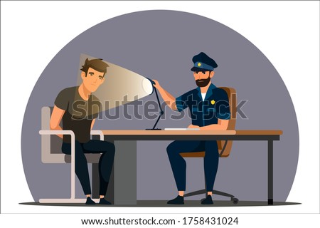 Work of police department. Police officer interrogates man suspected of crime, glowing light of lamp into face. Detained man in handcuffs testifies, gives evidence. Vector character illustration Сток-фото ©