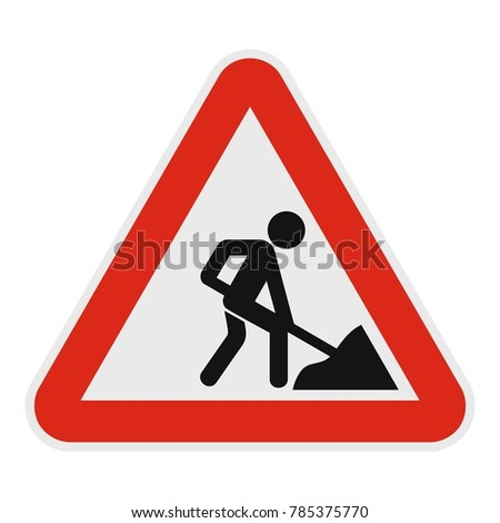 Work on the road icon. Flat illustration of work on the road vector icon for web.