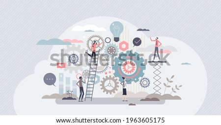 Work operations and teamwork productivity with control tiny person concept. Business project workflow as gear cogwheel mechanism vector illustration. Process automation with effective monitoring. Сток-фото ©