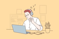 Work pause, take break concept. Office worker listening to music, young man working on laptop in headphones, freelancer workplace, employee cabinet, project manager workflow. Simple flat vector