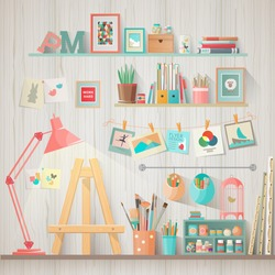 Work place of designer-illustrator and artist with drawing easel and many other artistic materials. Art-working process.  Flat design vector illustration