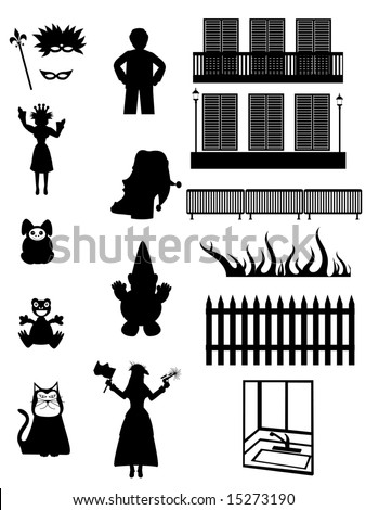Work, Pleasure, fantasy - Vector silhouettes of party play and work related objects