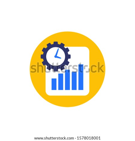 work productivity growth icon, flat vector