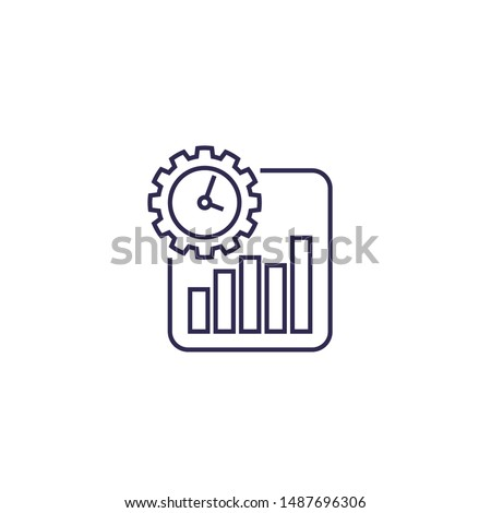 work productivity growth icon, line vector