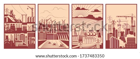Work Propaganda Posters Template Set, Retro Soviet Industrial Placards Style, Factory, Construction Site, Agriculture Fields, Urban Panorama Сток-фото ©