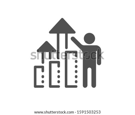 Work result sign. Employee results icon. Statistics chart symbol. Classic flat style. Simple employee results icon. Vector