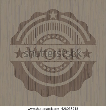 Work retro wood emblem