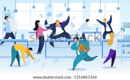 Work Rush, Office Chaos, Flat Vector Illustration. Busy, Stressed, Nervous Office Workers Fussing. Angry Boss Shouting at Workplace. Job Routine, Deadline. Papers Flying. Businessman with Case Running