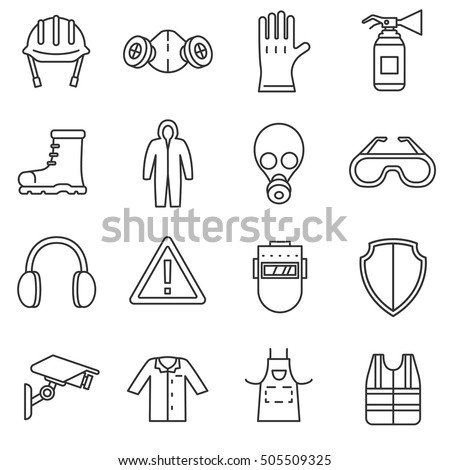 work safety icons set means