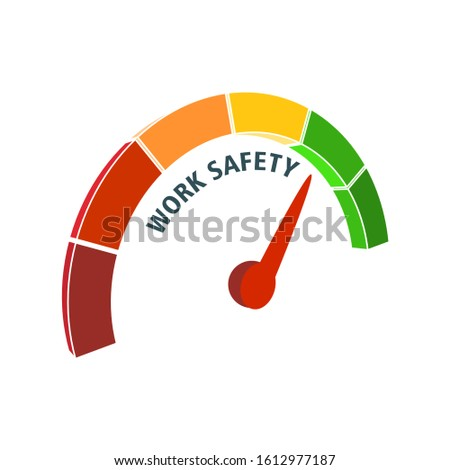 Work safety level scale with arrow. The measuring device icon. Sign tachometer, speedometer, indicators. Vector illustration in isometric style. Infographic gauge element