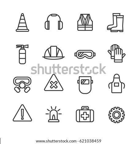Work safety. Line icon set.