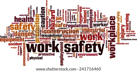 Work safety word cloud concept Vector illustration