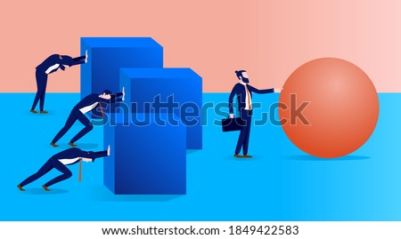 Work smarter not harder in business - Man working effortlessly with ball while colleagues struggling with square shapes. Vector illustration. Сток-фото ©