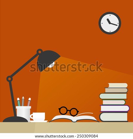 work space in orange background