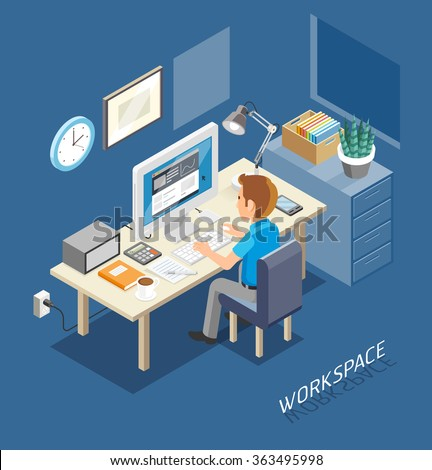 work space isometric flat style