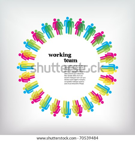 Work team concept. Men and Women. Vector illustration.