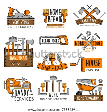 Work tool emblem set for home repair, house painting and carpentry work. Screwdriver, hammer, wrench and pliers, spanner, paint brush, roller, tape measure, saw, axe, trowel and wood toolbox sketches.