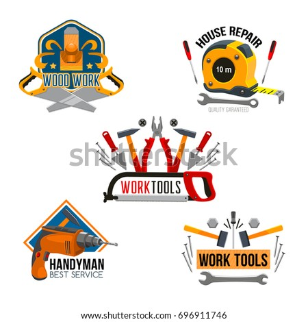 Work tool for house repair isolated symbol set. Hammer, screwdriver, spanner, drill, pliers, saw, tape measure, wrench, trowel, jack plane and nails for handyman and carpentry service design