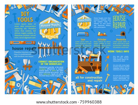 Work tool for repair and construction equipment posters . Vector screwdriver, hammer and wrench, drill, spanner and paint brush, pliers, roller and toolbox, tape measure, saw, axe, trowel banner