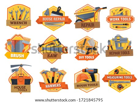 Work tools construction, house repair, building and renovation DIY toolbox, vector icons. Home remodeling work tools, carpentry hammer, woodwork saw and painting brush, masonry saw and drill