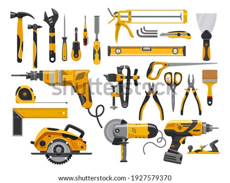 Work tools, construction instruments for repair, woodworking and renovation, vector flat isolated yellow set. Home remodeling, carpentry and masonry building tools, electric drill, screwdriver and saw Foto stock ©