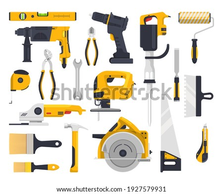 Work tools flat icons set, construction, carpentry woodwork and masonry vector instruments. Building and repair power tools electric drill, rotary hammer and painting brush roll, saw and grinder plane Stockfoto ©