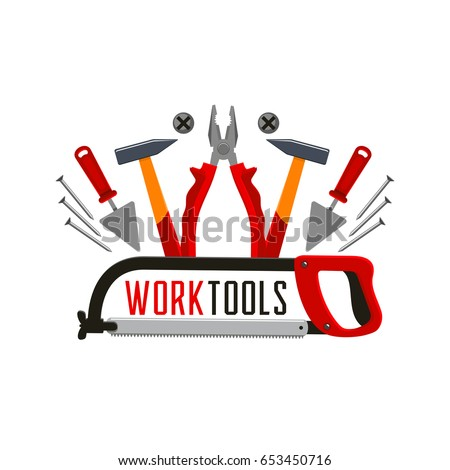 Work tools or toolkit icon for home repair or carpentry and renovation service company. Vector isolated toolbox of plaster trowel spatula, pliers or nippers and hammer mallet with screwdriver and nail