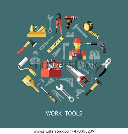 Work tools round composition with isolated colored icon set combined in big circle vector illustration