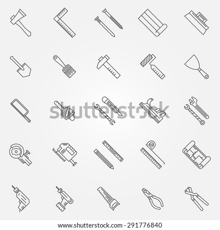 Work tools set - vector collection of construction tool outline icons or logo