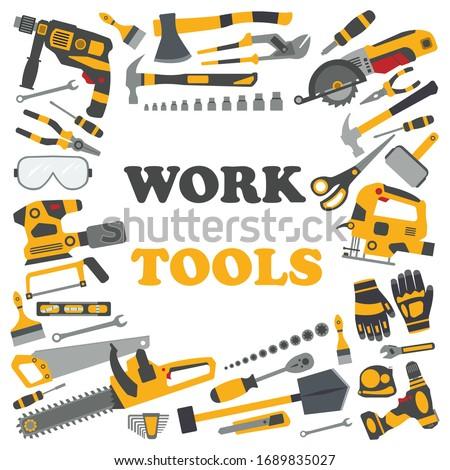 Work tools. Wood Industrial . Mechanic Repair tool. set. web work tool banner. Home renovation. Car repair. Service tools. Tool hammer, construction tool, repair equipment.