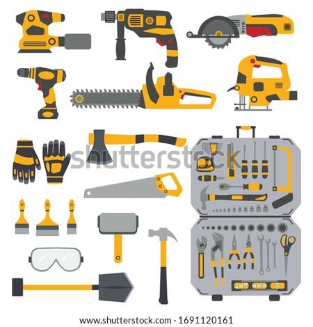 Work tools. Wood Industrial . Mechanic Repair tool. set. web work tool. Home renovation. Car repair. Service tools. Tool hammer, construction tool, repair equipment.