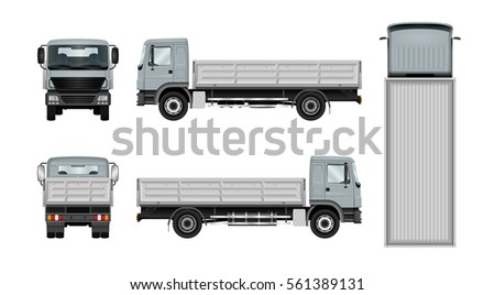 Work truck vector template. Isolated lorry on white background. The ability to easily change the color. View from side, back, front and top. All sides in groups on separate layers.