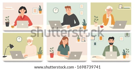 Work with laptop computer. Corporate workers, young people and seniors working with laptops vector illustration set. Senior work at laptop, job and learning online