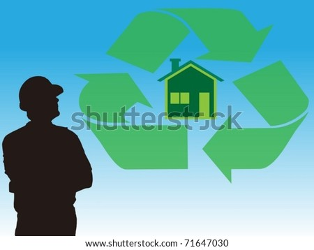 worker and concept of ecology building and recycled materials