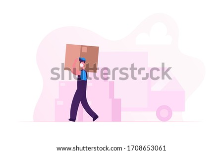 Worker Character in Medical Mask Carry Cardboard Box on Unloading Truck. Relocation and Moving into New House during Covid19 Pandemic. Delivery Company Loader Service. Cartoon Vector Illustration ストックフォト ©